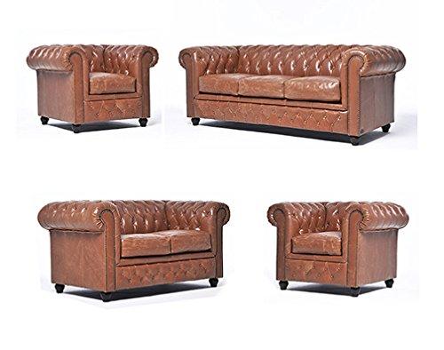 Original Chesterfield Sofas und Sessel – 1 / 1 / 2 / 3 Sitzer – Vollständig Handgewaschenes Leder – Vintage Mokka