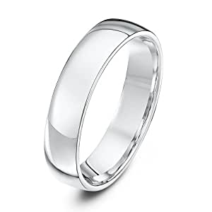Theia Lightweight Court Shape Wedding Ring - 5 mm, Palladium 950, Size N