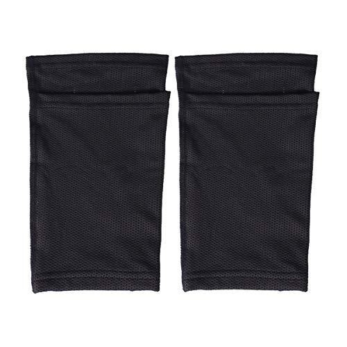 LIOOBO Schienbeinschutz Schienbeinschoner Socken mit Kalbsmanschette und Tasche Wadenstütze für Erwachsene und Kinder Fußball Basketball Laufen (Schwarz/M)