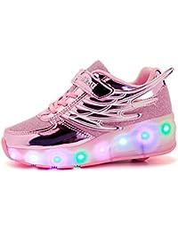 Flower-Ager Unisex Led Luz Automática de Skate Zapatillas con Ruedas Zapatos Patines Deportes Zapatos
