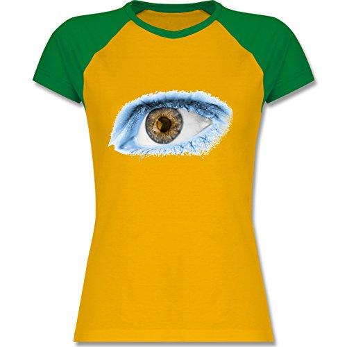 Länder - Auge Bodypaint Argentinien - zweifarbiges Baseballshirt / Raglan T-Shirt für Damen Gelb/Grün