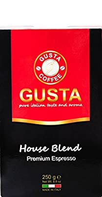 Gusta Coffee House Blend Premium Italian Espresso, Non-Bitter Fine Smooth Medium/Dark Roast Ground Coffee, 250g by Gusta Coffee