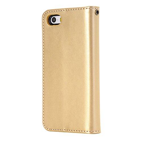 iPhone 7 Custodia, Pelle,EVERGREENBUYING Premium Protettiva per IPHONE7 Cases Slot per Scheda e Protettiva Flip Integrati Portafoglio Cover Per iPhone 7 4.7 Rose Oro Oro