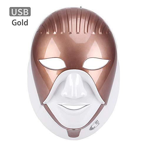 LED-Gesichtsmaske für den Hals, 7 Farben Neonleuchtendes Licht Gesichtspflege Beauty-Tool für glatte Hautverjüngung, Anti-Aging, Straffung, Straffung, Falten, Akne entfernen, Whitening (Aluminiumbox)