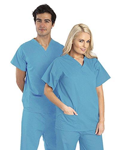 blouse-tunique-medicale-unisexe-hopital-col-v-manches-courtes-coton-polyester-couleurs-bleu-roi-ciel