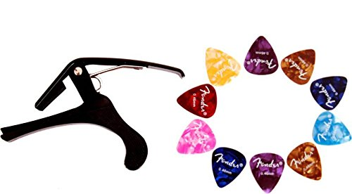 Crusader Spring Guitar Capo B4(Black) & Guitar Picks Set of 10 Pick  available at amazon for Rs.138