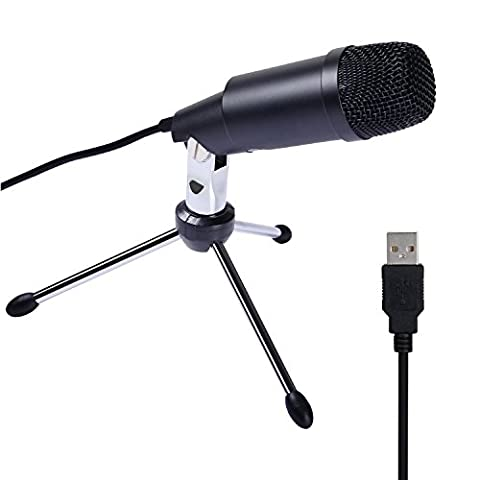 PC Youtube Microphone Plug and Play USB Computer Condenser Microphone for Skype, Recordings, YouTube, Home Studio, Cardioid Studio, Vocals Speech, Gaming, Podcast and Desktop Recording, Google Voice Search Games Windows/Mac