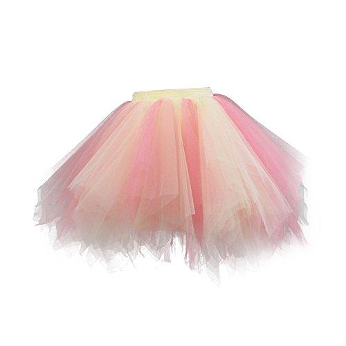 VKStar® Retro Damen Rock Ballett Einheitsgröße Vintage petticoat 50er Unterrock Reifrock Mischfarbig Unterröcke Mischfarbig B