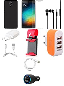 NIROSHA Tempered Glass Screen Guard Cover Case Charger Headphone USB Cable Mobile Holder for Xiaomi Mi4 - Combo