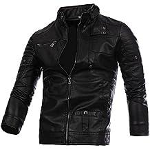 Chaqueta para hombre de cuero Otoño & Invierno Biker Motocicleta con cremallera Outwear Warm Coat Abrigo sudadera suéter By DoraMe