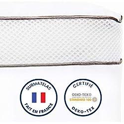 ViscoSoft - Surmatelas Duo 8cm   Fabriqué en France   Double Couche Luxueuse : surmatelas memoire de Forme   Housse 100% Coton Matelassée   Soutien Moelleux Certifié Oeko-Tex   surmatelas 160x200 cm