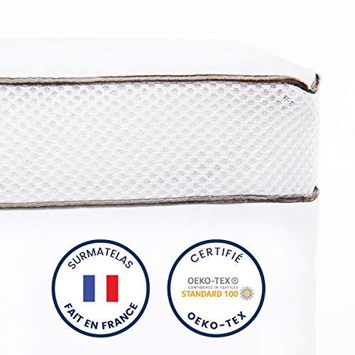 ViscoSoft - Surmatelas Duo 8cm | surmatelas 140x190 cm | Fabriqué en France | Double Couche...