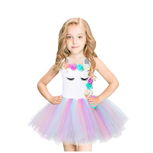 FEIXIANG Mädchen Regenbogen verkleiden Sich Kostüm Puffy Tüll Rock Geburtstag Outfit Hochzeit Party Kleider für Kinder Tüll Prinzessin Ballett Kleid 2-10 Jahre alt