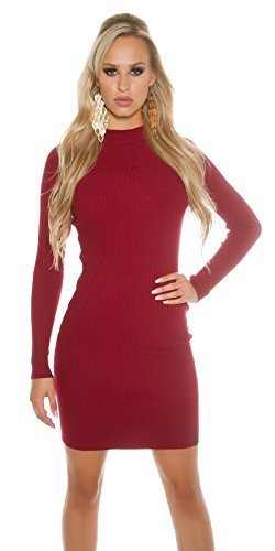 Koucla Damen Strickkleid Feinstrick Ripp Kleid Minikleid Stehkragen | Long Pullover Pullikleid gerippt | verschiedene Farben, Dunkelrot, 32-36...