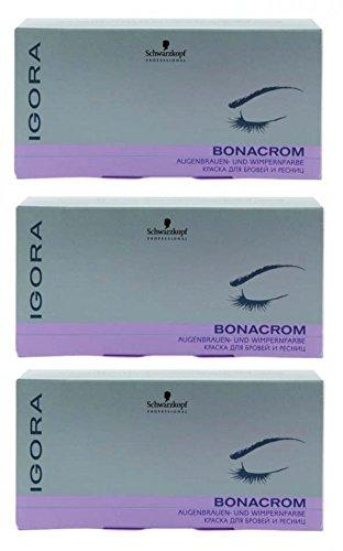 Schwarzkopf Igora Bonacrom Set braun 3 x (15 ml Farbe + 10 ml Entwickler) Augenbrauen-Wimpernfarbe