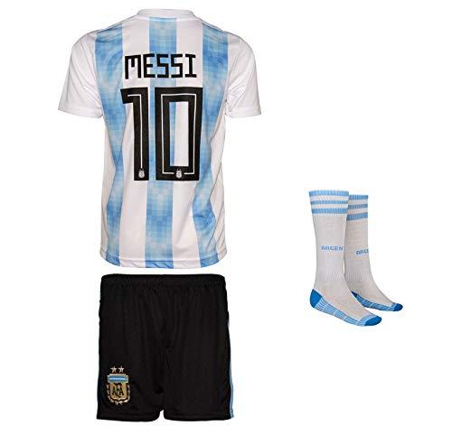 Summersport Argentinien Messi # 10 Fan Shirts Heim Trikot und Shorts mit Socken Kinder und Jugend Größe (164-11-12 Years, Heim)