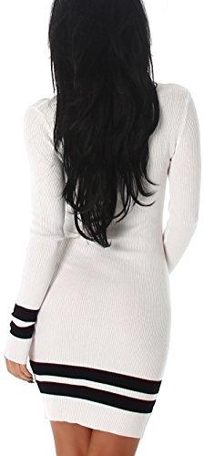 Jela London Donna lavorati a maglia fine abito stretch/Pullover lungo a Costine fine Motivo a strisce (taglia unica 34 36 38) Bianco
