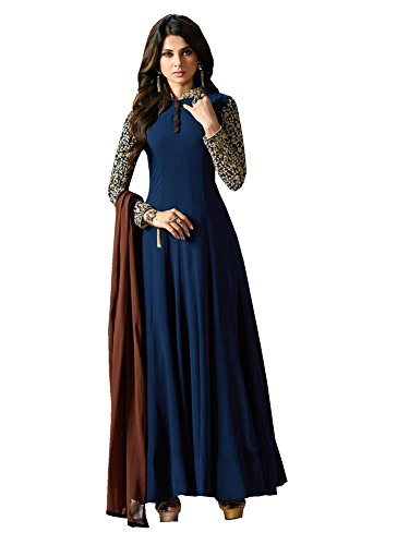 Anarkali ( Shoponbit Georgette Navy Blue Embroidered Women\'s Wear Semi Stitched Anarkali Suit AS-11006 )