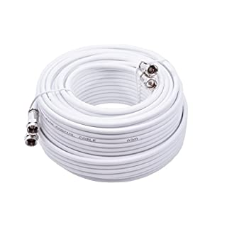Smedz 15 m Twin Satellite Shotgun Coax Cable Extension Kit with Premium Fitted Compression F Connectors for Sky Q, Sky HD, Sky+ and Freesat - White