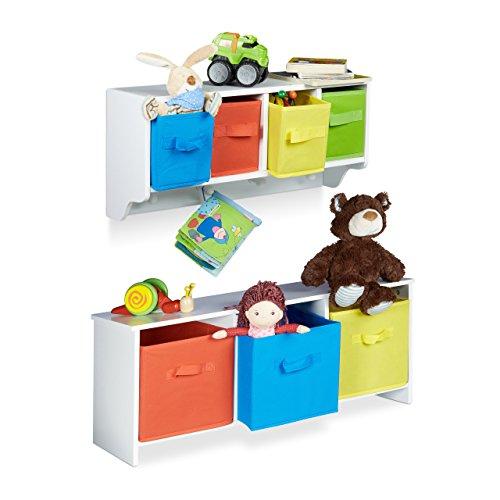 2 teiliges Kinderzimmer Aufbewahrungsset, Kindersitzbank mit Stauraum, Wandregal Wandgarderobe, weiß mit bunten Stoffboxen - Regal Akzente