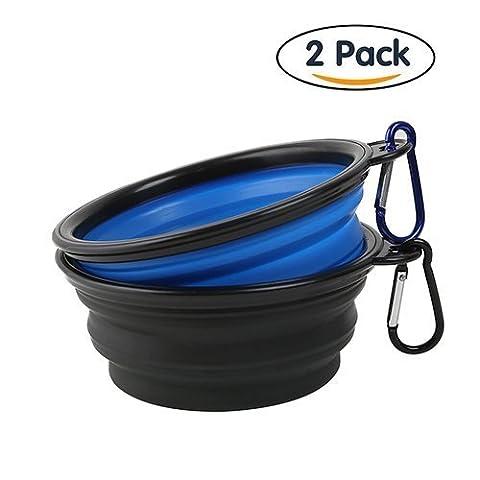 S-lifeeling 2paquets de la mode pliable Gamelle, Silicone de qualité alimentaire sans BPA Approuvé par la FDA pour animal domestique Bol, pliable extensible Tasse Plat Bol de voyage pour la nourriture de l'eau d'alimentation pour portable, gratuit Mousqueton Gamelle