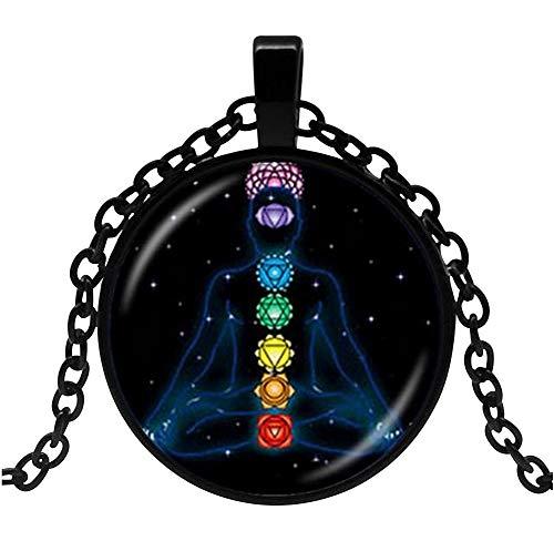 Unbekannt Halskette, Anhänger, Chakra-Symbol, Meditation, Yoga, schwarzer Hintergrund