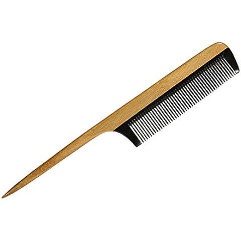 garcoo Natural hecho a mano madera peine para barba, dientes de cepillo para barba y bigote, Natural verde sándalo para