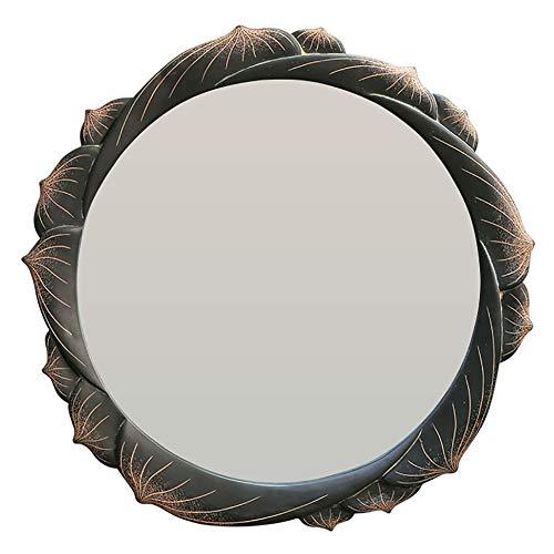 DH JINGZI - Schminkspiegel Spiegel Wandbehang Retro Blütenblätter handgeschnitzten Badezimmer kreative Waschtisch Dressing Umweltfreundliche Harz (Farbe : SCHWARZ, größe : Diameter 67cm)