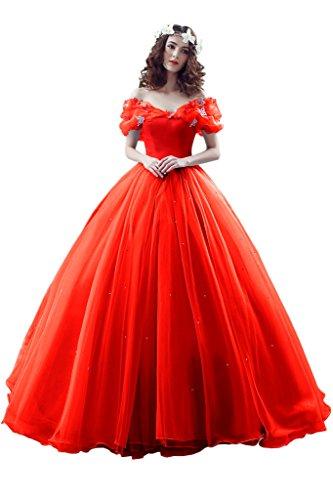 Victory Bridal Wunderschoen Blaues Kurzarm Abendleider Quincenera Ballkleider Lang Promkleider Cinderella Rot