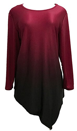 Übergröße Langarm Hoch Niedrig Saum Unregelmäßige Saum Farbverlauf Blouse Bluse Hemd Shirt T-Shirt Tee Oberteil Top Burgund 2XL -