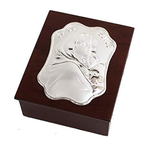 Dlm27278 scatola cofanetto portagioie in legno madonna mamma e bambino bomboniera
