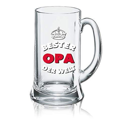 PorcelainSite Geschenkideen GmbH Lustiges Bierglas Bierkrug Icon 0,5L - Dekor: Bester Opa Welt