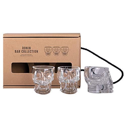 Ronin Bar Collection Cocktail Set Skull Shots, Geschenkbox mit 3 Totenkopf Gläsern, Tiki Becher für Espresso, Zucker und Schnaps