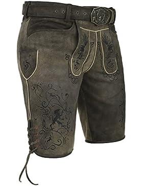 Michaelax-Fashion-Trade Spieth & Wensky - Herren Trachten Lederhose mit Geweihkoppel-Gürtel, Araber (240034-0247)