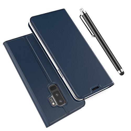 Coque Housse pour Samsung Galaxy S9 Plus PU Cuir Etui Flip Cover Case Wallet Portefeuille Etui Cellulaire Housse Résistant Aux Chocs Ultra-Mince Protecteur le Corps du Étui Flip Support + Porte-carte