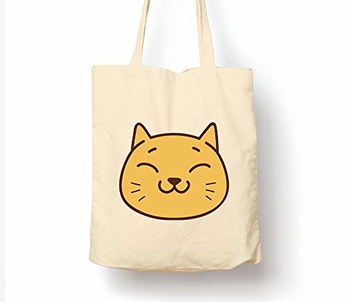 Cat Mood–Tasche, natur Einkaufstasche, umweltfreundlich Eco Friendly Cat Mood Very Happy (Cat Whose Got The Cream)