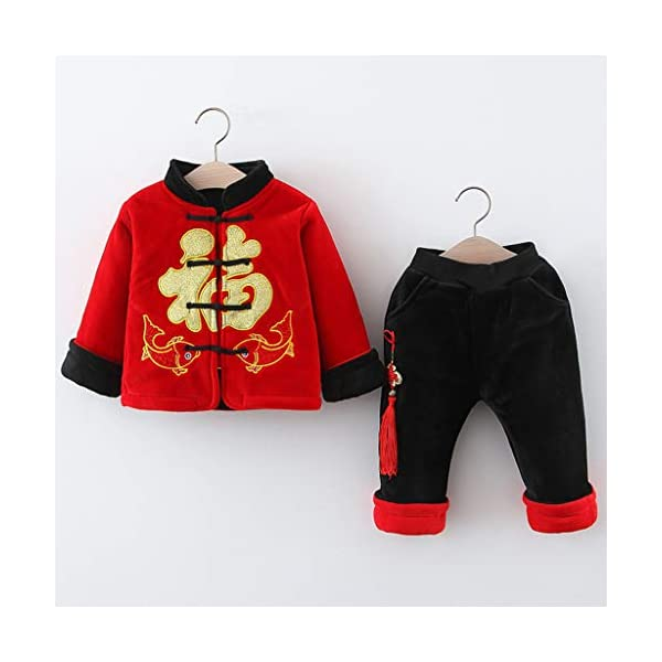 Tefamore Ropa Bebe Conjuntos Niños Deportivos Ropa Abrigo Pequeño Bebé Niños Año Nuevo Chino Traje Tang Estilo Chino… 2