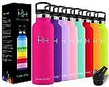 HoneyHolly Vakuum Isolierte Edelstahl Trinkflasche 350/500/600/750ml, Auslaufsicher Thermosflasche mit Stroh, für Kinder, Schule, Sport, Laufen, Fahrrad, Fitness, BPA frei, 24 Std Kühlen, 12 Std Heiße