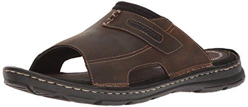 Rockport Men's Darwyn 2 Slide Sandal, Brown II Leather, 8.5 M US