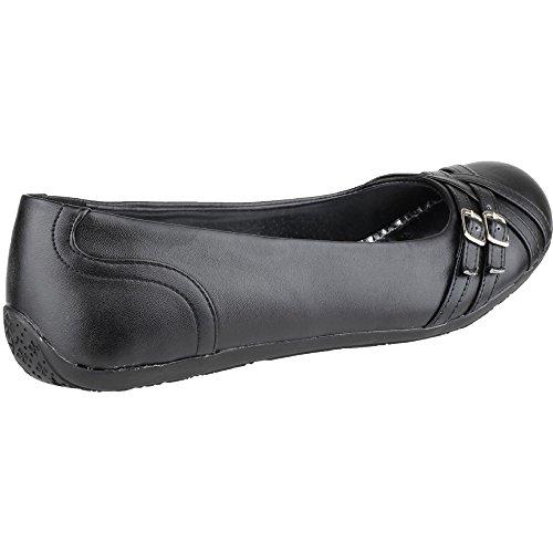 Mirak Girls Liberty Slip On Strap Detail Back To School Shoe Black