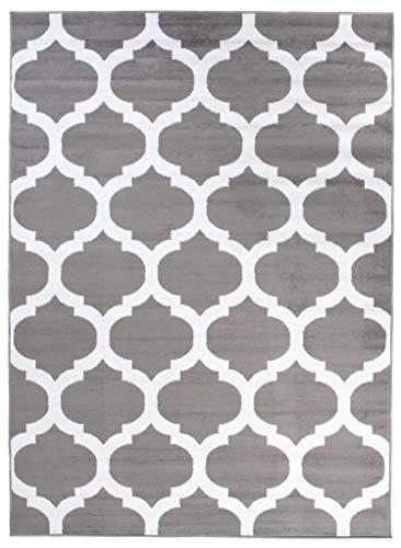 Carpeto Rugs Modern Teppiche für Wohnzimmer Kurzflorteppich in Grau Geometrische Marokkanische Muster ÖkoTex Größe: 200 x 300 cm