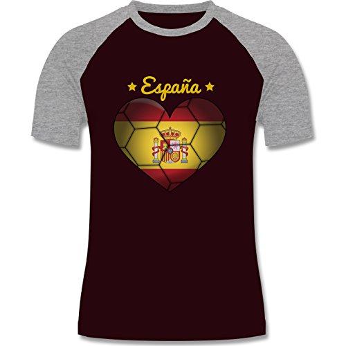 Handball - Handballherz Spanien - zweifarbiges Baseballshirt für Männer Burgundrot/Grau meliert
