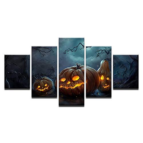 (Moderne Leinwand HD Drucke Wohnkultur Poster Wandkunst 5 Stücke Halloween Kürbisse Lampe Gemälde Für Wohnzimmer Bilder)