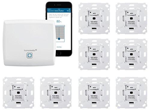 Homematic IP Rolladensteuerung für 8 Rolladen. Smart Home Set mit App zur Automatisierung der Rollläden. Ideal zur Nachrüstung. Alexa kompatibel | Zentrale, 8 Funk Rollladenaktoren, Adapter.