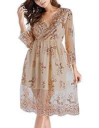 504ec2fa7 FuweiEncore Vestido de túnica para Mujer Primavera otoño Elegante Media  Manga Lentejuelas Vestidos (Color