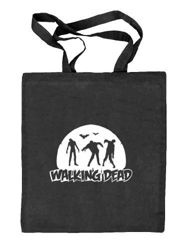 Shirtstreet24, WALKING DEAD, Halloween Grusel Stoffbeutel Jute Tasche (ONE SIZE) schwarz natur
