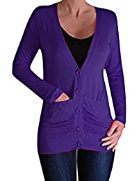Pacific Draped Lightweight Womens Waterfall Button Cardigan with Pockets