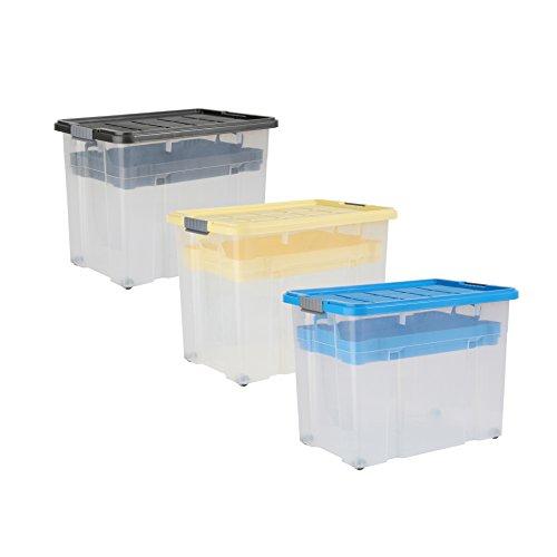 Axentia Universalbox auf Rollen, Aufbewahrungsbox mit Deckel, Clipbox, 80 Liter Fassungsvermögen, farbig sortiert, Aufbewahrungsbehälter,Multibox 60 x 40 x 44 cm, Ordnungssystem für Kinderzimmer, Garage, Abstellraum oder Keller