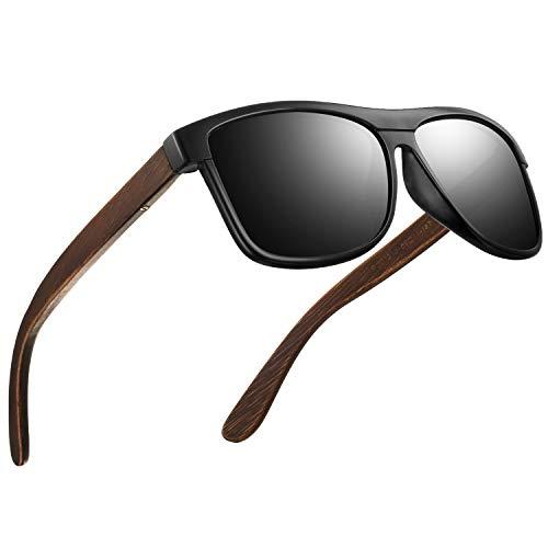 FEIDU Sonnenbrille herren holz Zwei Stile zur Auswahl - Polarisierte sonnenbrille holz Klassischer Stil Und Einfacher Stil Unisex FD 9003H (Matte schwarz-Einfacher, 50)