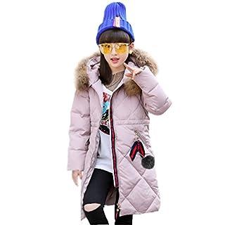 Amur Leopard Korea Style Kids Girls Boys Long Thick Warm Duck Down Jacket Faux Fur Parka Coat Hooded Snowsuit Down Coat Outdoor Clothing, Pink, 11-12 Years